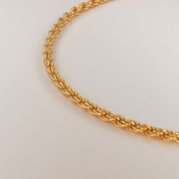 Collier chaîne corde massive ~2.4mm ~45.5cm