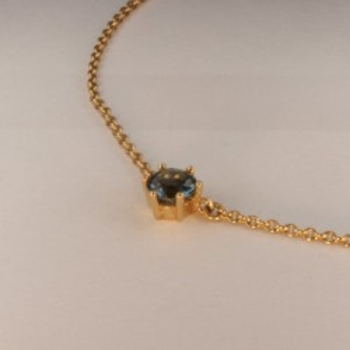 Collier Pendentif Aigue-marine Bleu ~38.5cm